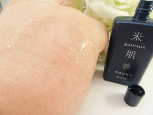 米肌肌潤化粧水の肌なじみ