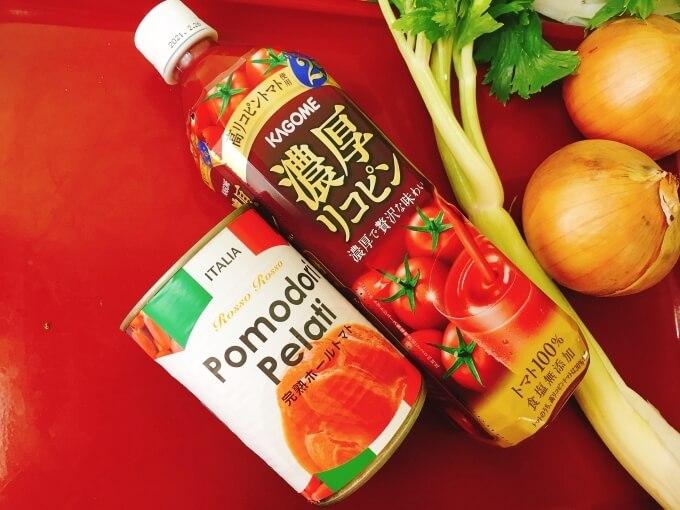 ホールトマト缶とカゴメの濃厚リコピン