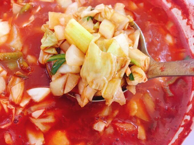 脂肪燃焼スープを5分間煮込んだところ