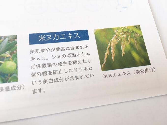 ジュゲン高濃度竹塩石鹸プレミアムに配合されているコメヌカエキス